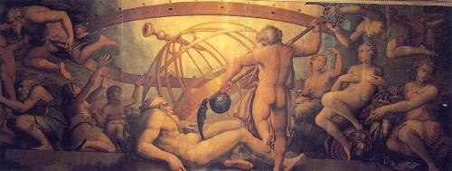 Une représentation d'Uranus, mutilé par son fils Saturne