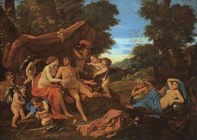 Les rapports entre Vénus et Mars sont de nature sensuelle, érotique, passionnelle, physique, mais aussi affective. Ici une huile de Nicolas POUSSIN Vénus et Mars, peinte entre 1627 et 1629
